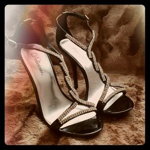 """Chic Black Patent Leather 4 """" Sandals"""